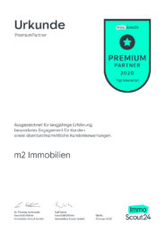 m2 Immobilien Immoscout Premium Partner Urkunde 2020
